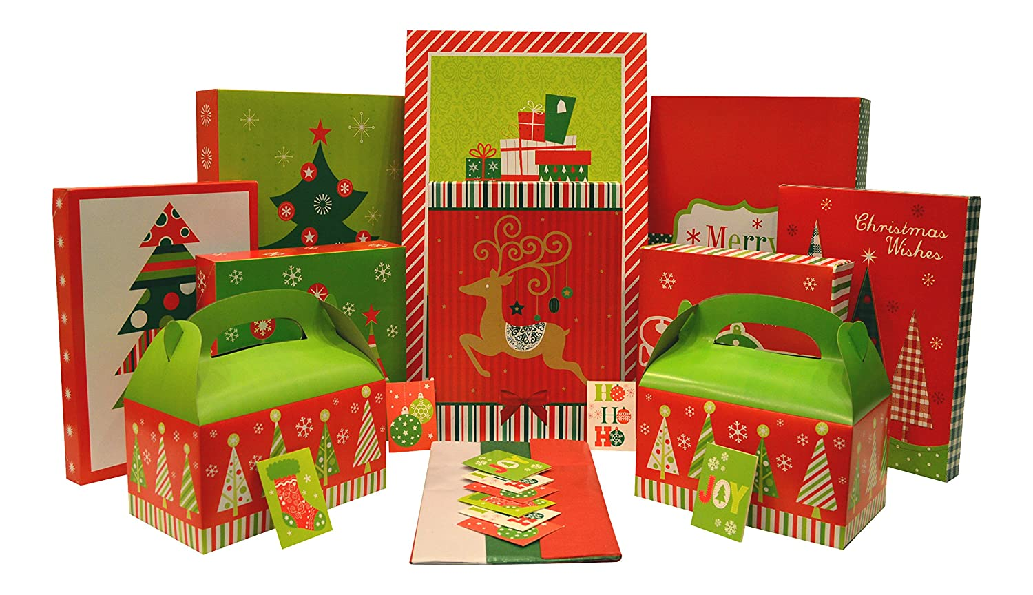 Amazon christmas gift box set kit contains gift boxes gift amazon christmas gift box set kit contains gift boxes gift tags tissue paper everything needed to wrap presents 36 piece set health personal negle Images