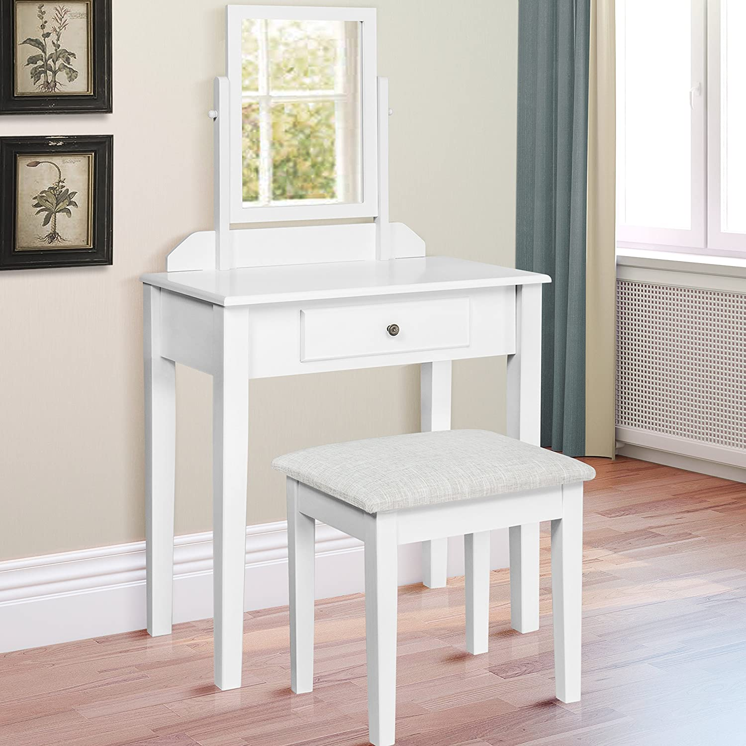 Best Choice Products Vanity Table Set W  Stool Bedroom Home Furniture  White. Vanities   Amazon com