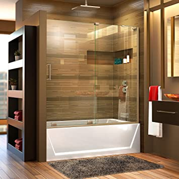 DreamLine - Mampara corrediza de bañera con soporte para pared ...
