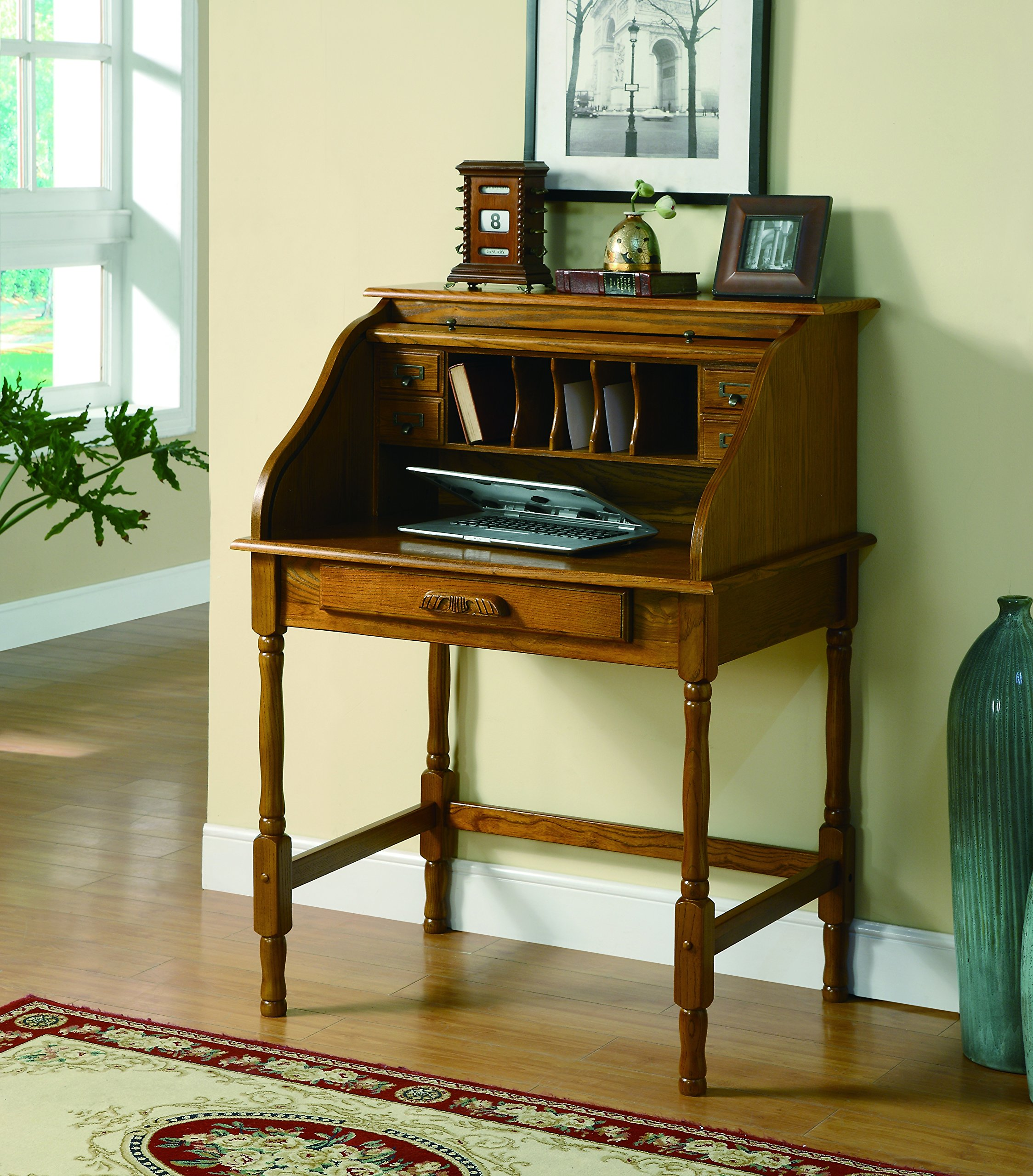 Coaster Home Palmetto Small Roll Top Secretary Desk Warm Honey by Coaster Home Furnishings