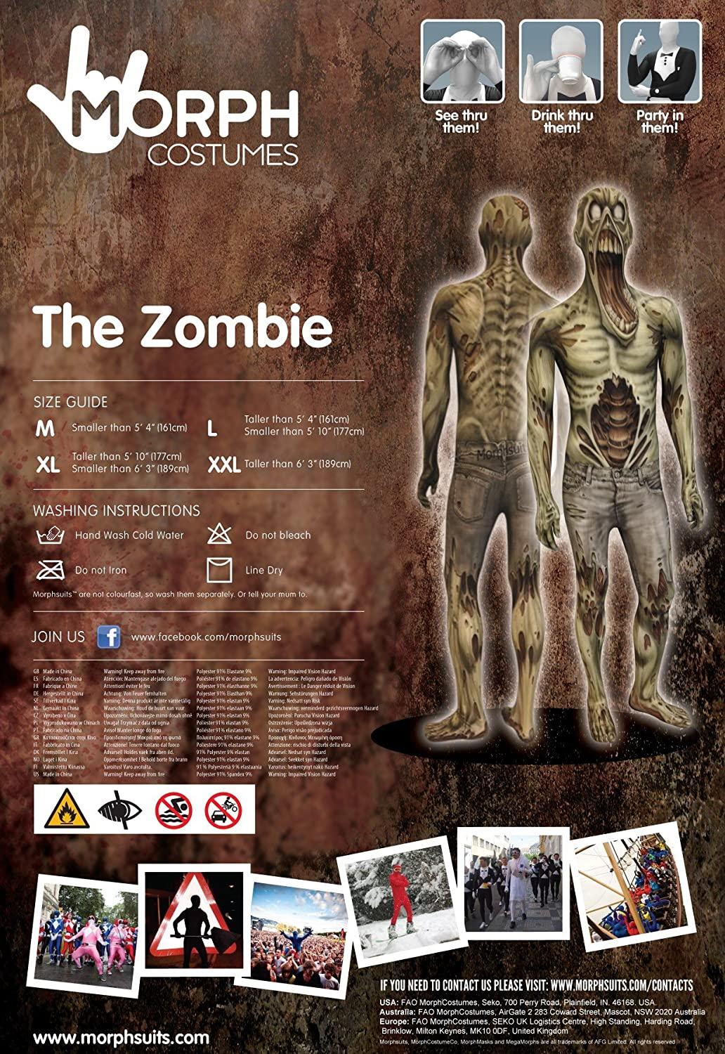 Morphsuits Disfraces Disfraz DE Zombie para Trajes Adultos: Amazon ...