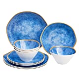 Amazon Basics 12-Piece Melamine Dinnerware Set - Service for 4, Blue Weathered Crackle