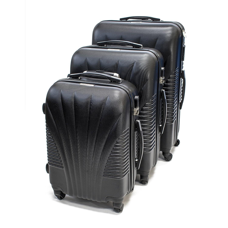 08cdb1990d6c Amazon.com   ALEKO LG48BK ABS Luggage Suitcase Set with Lock, 3 ...