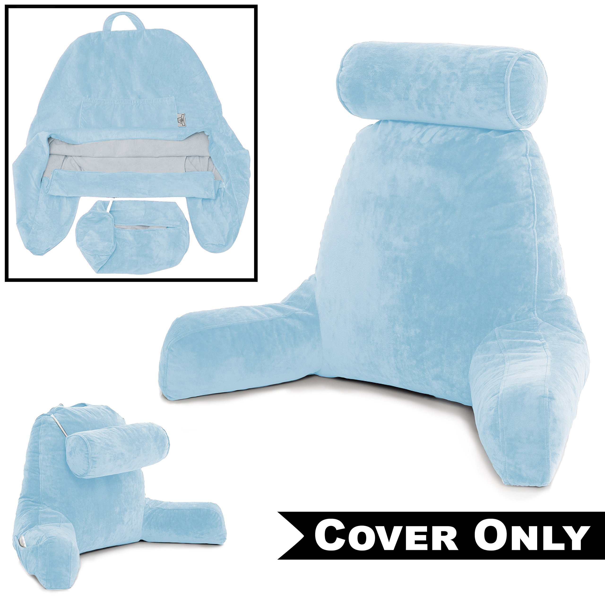 Husband Pillow Sky Blue COVER ONLY - For the Bedrest Cover Set - Support Bed Backrest Covers, Micro Plush Cover Including Detachable Neck Roll Pillow Cover