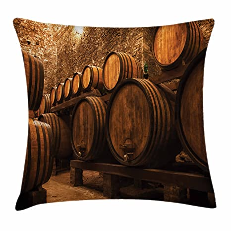 Bon Lunarable Winery Throw Pillow Cushion Cover, Barrels For Storage Of Wine  Italy Oak Container In