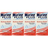 Murine Plus For Dry Eyes, Redness Relief Fast Acting Formula for Normal Clear Vision, 0.5 fl oz (15 ml)  (Pack of 4)