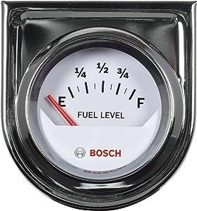 "Bosch SP0F000048 Style Line 2"" Electrical Fuel Level Gauge (White Dial Face, Chrome Bezel)"