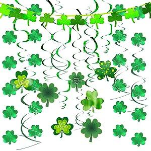 JOYIN 27 Pcs St. Patrick's Day Decoration with Irish Saint Patricks Green Shamrock Foil Strings, Hanging Swirls with Garland. St Patricks Ceiling Hanging and Wall Decoration