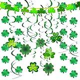 JOYIN 27 Pcs St. Patrick's Day Decoration with Irish Saint Patricks Green Shamrock Foil Strings, Hanging Swirls with Garland.