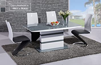 Furniture Mill Outlet Arctic High Gloss Dining Table In Grey Glass
