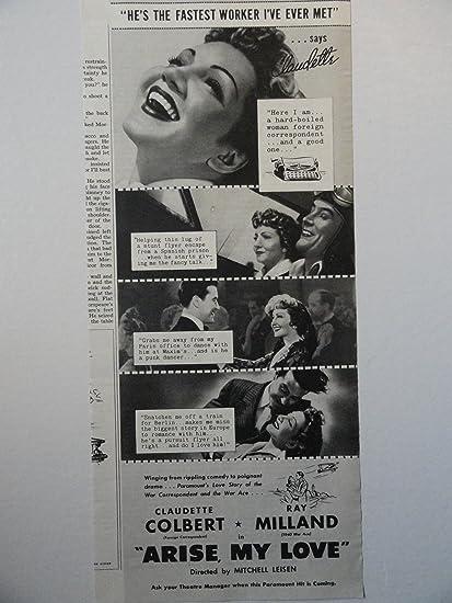 e81f3dbe3f155 Amazon.com : Arise My Love, Movie ad, 40's B&W Illustration, Print ...