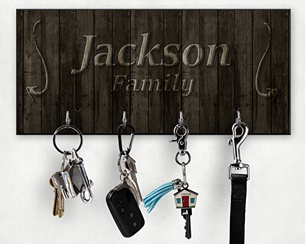 Delightful Personalized Family Key Hanger   Wooden Design Wall Key Holder   New Home  Gift   Wedding