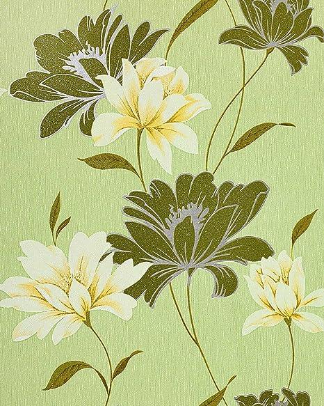 Vinyl Wallpaper Wall Floral EDEM 168 35 Flowers Textured Moss Green White Yellow