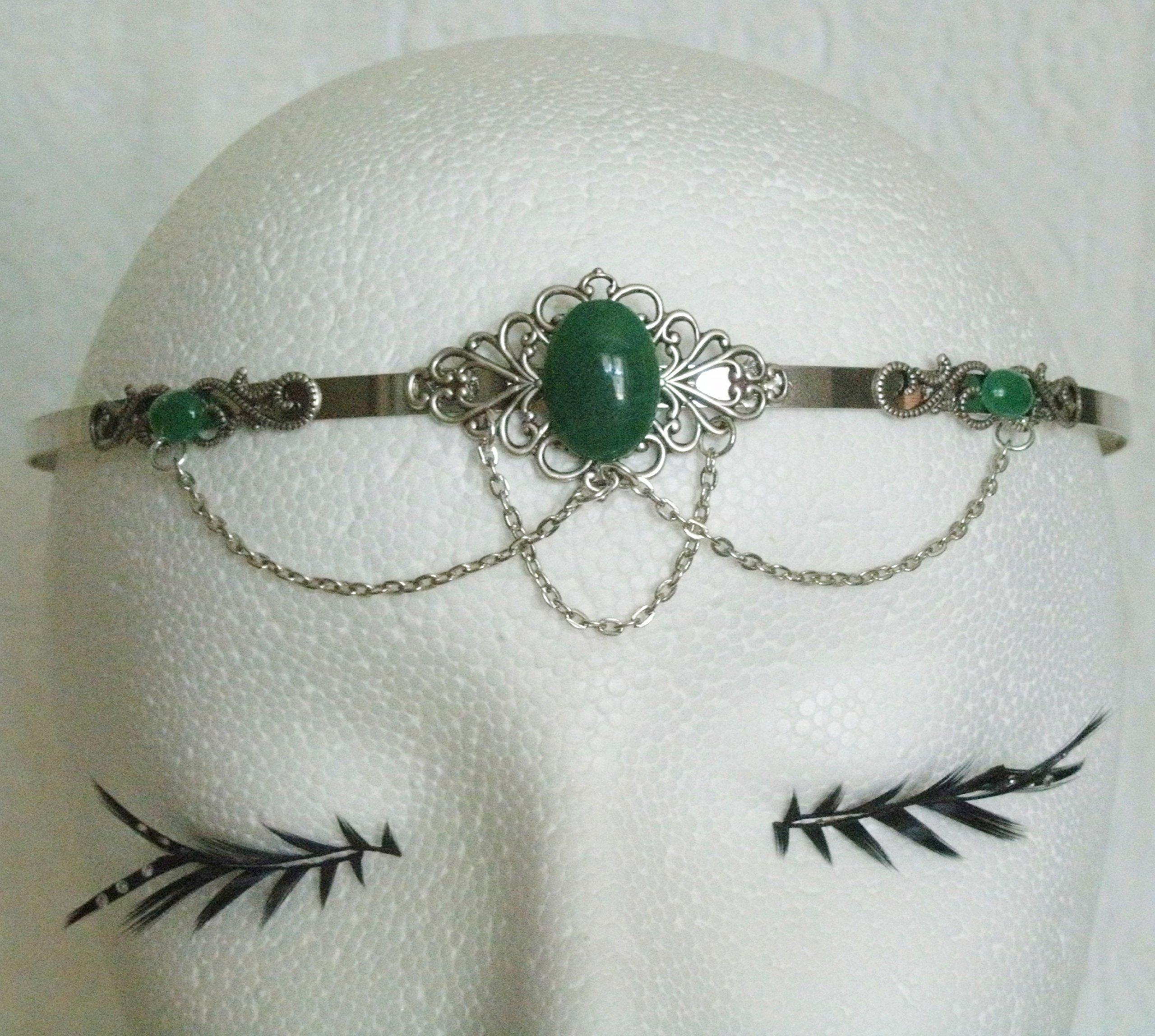 Green Agate Circlet, handmade jewelry renaissance medieval Victorian Edwardian art nouveau art deco tudor celtic headpiece