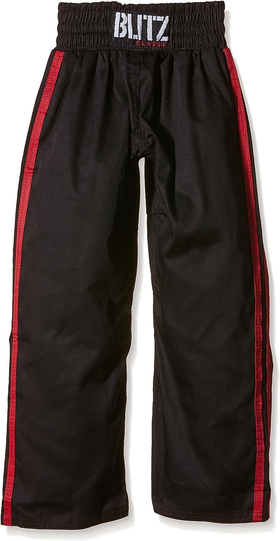 PLAYWELL Pantalon en Satin Rouge//2 Bandes Noires Full-Contact//Kickboxing