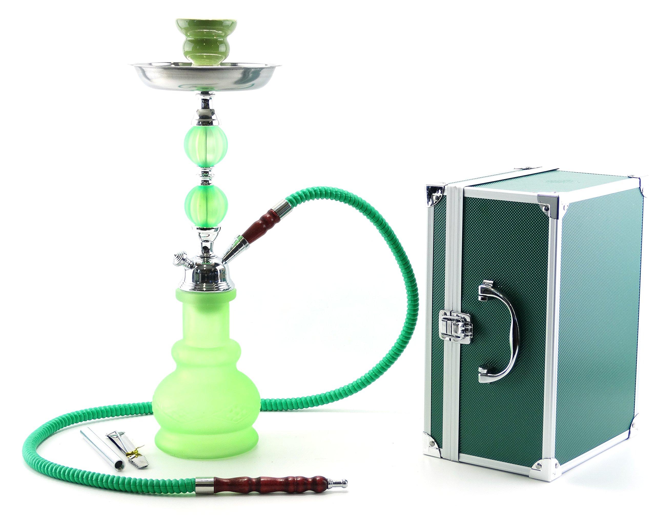 Larry-One 1 Hose Hookah 17'' Matte Finish Glass Vase Complete Set Shisha W/Travel Carrying Case (Green)