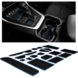 Custom Fit Cup, Door, and Console Liner Accessories for Toyota Rav4 2019 2020 (Blue Trim)