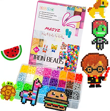 Amazon Com Fuse Beads Kit Perler Beads Kit 5300 Pc 24 Bright Colors Beads In Big Storage Case 2 Perler Beads Pegboards 3 Keychains 2 Tweezers Iron Beads Paper Best For Birthdays Holiday