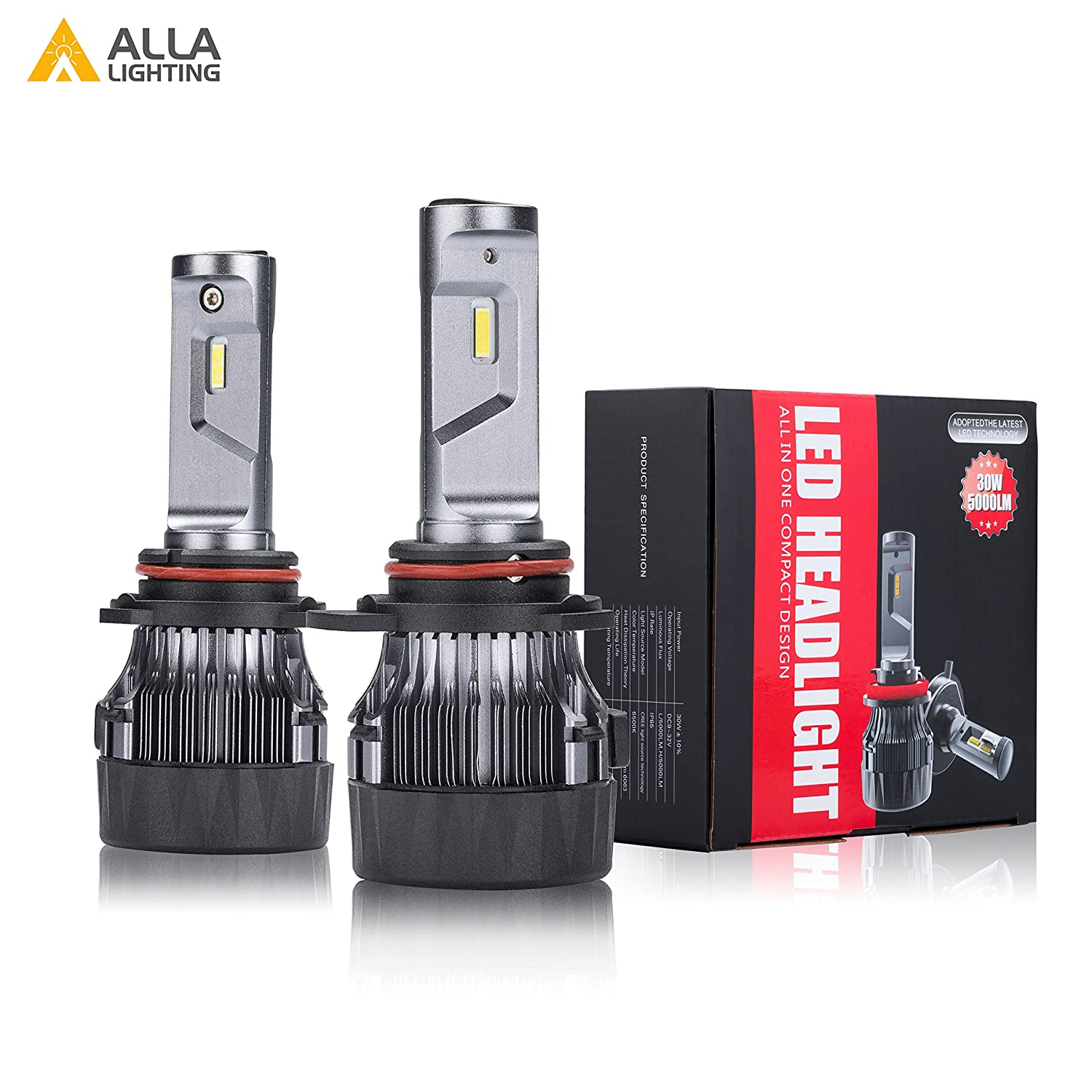 Alla Lighting S-HCR 2018 Newest Version 10000 Lumens Extremely Super Bright Cool White High Power SUPER Mini LED Headlight Bulb All-in-One Conversion Kits Headlamps Bulbs Lamps H8, H9 H11