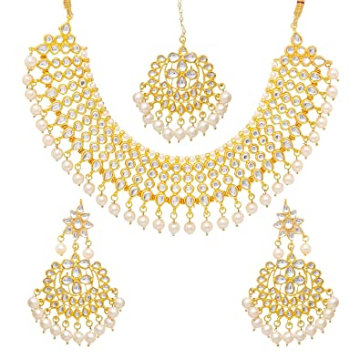 9490cca406 Image Unavailable. Image not available for. Color: Narbh Indian Bridal  Jewellery Set ...