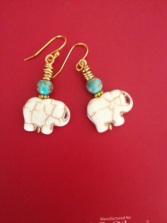 Lucky Bohemian Tribal White Howlite And Blue Jasper Gemstone Elephant Earrings