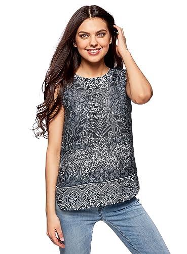 oodji Collection Mujer Blusa Estampada de Tejido Fluido