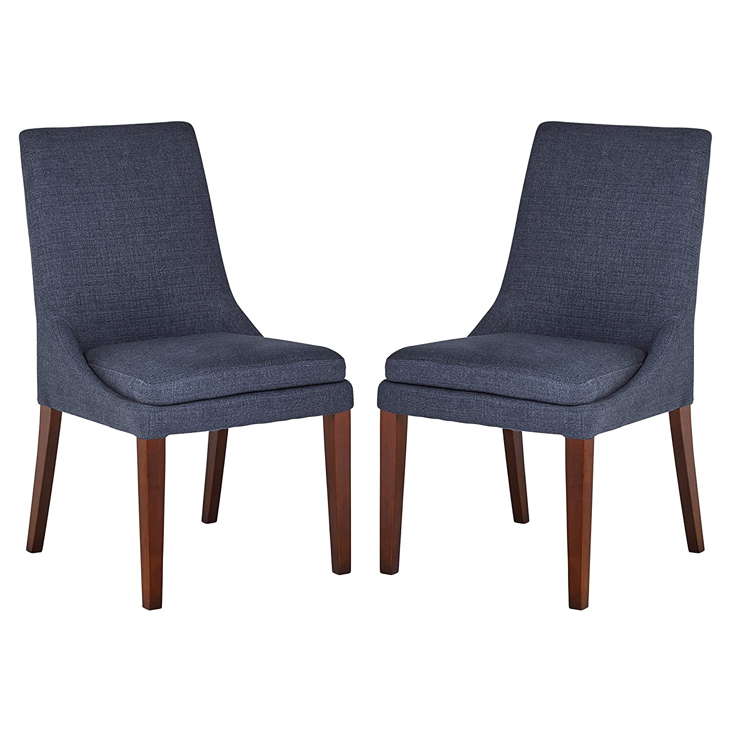 Stone Beam Alaina Modern Upholstered Dining Room Kitchen Chairs, 37 Inch Height, Set of 2, Navy Blue