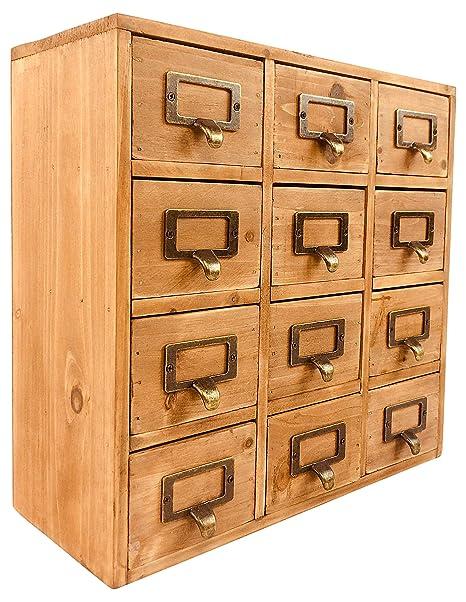 Mini Cassettiera In Legno.Geko 35 X 15 X 34 Cm Trinket Mini Desk Organizer Gingillo Archiviazione Cassetti In Legno 12 Mini Cassettiera Con Maniglie In Metallo