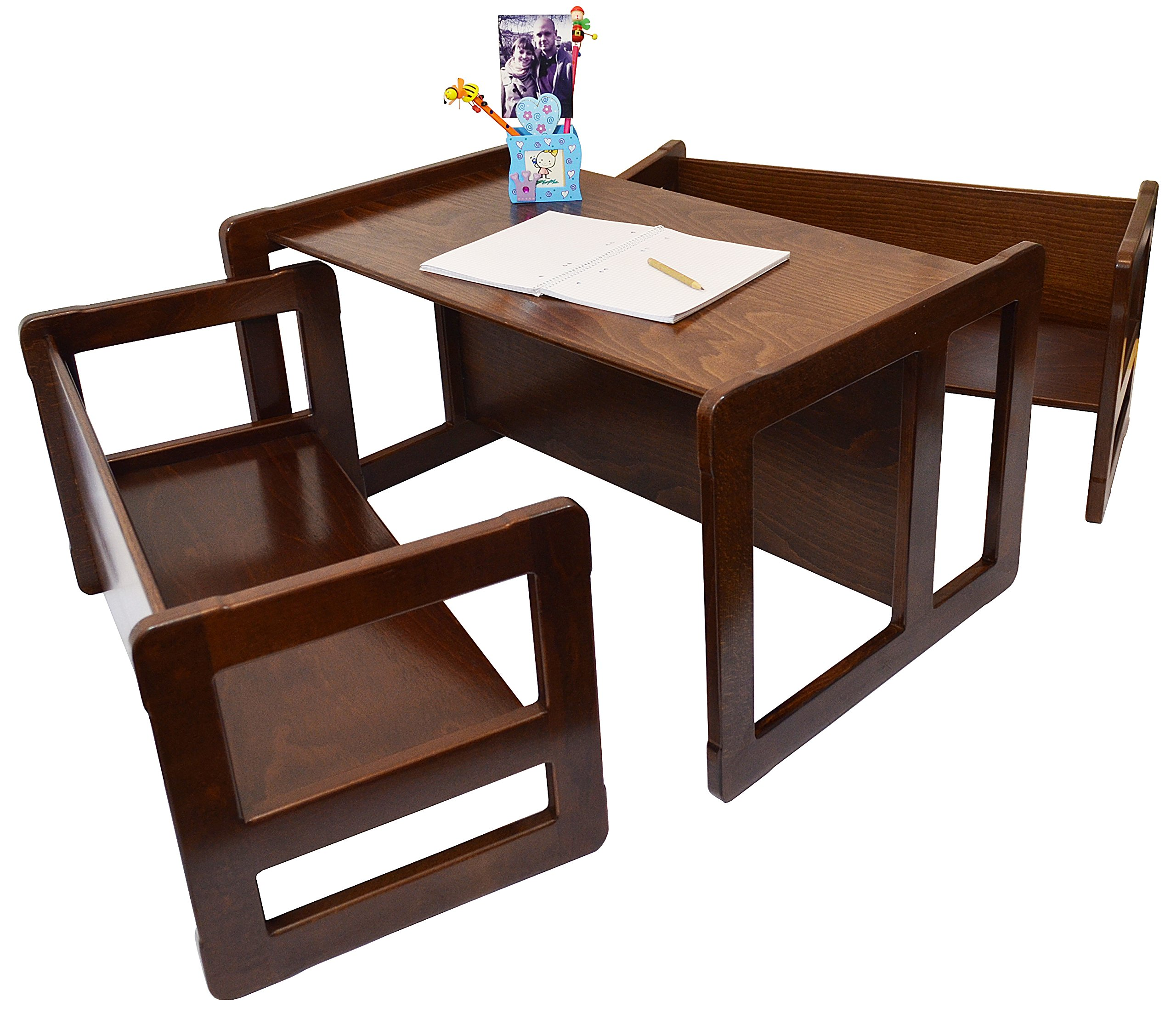 3 in 1 Childrens Multifunctional Furniture Set of 3, Two Small Benches or Tables and One Large Bench or Table Beech Wood, Dark Stained