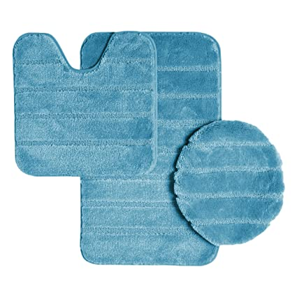 Terrific Ribbed Design Soft Pile Solid Color 3 Piece Bathroom Rug Set Bath Mat Contour Rug Universal Lid Cover Louise Turquoise Home Remodeling Inspirations Genioncuboardxyz