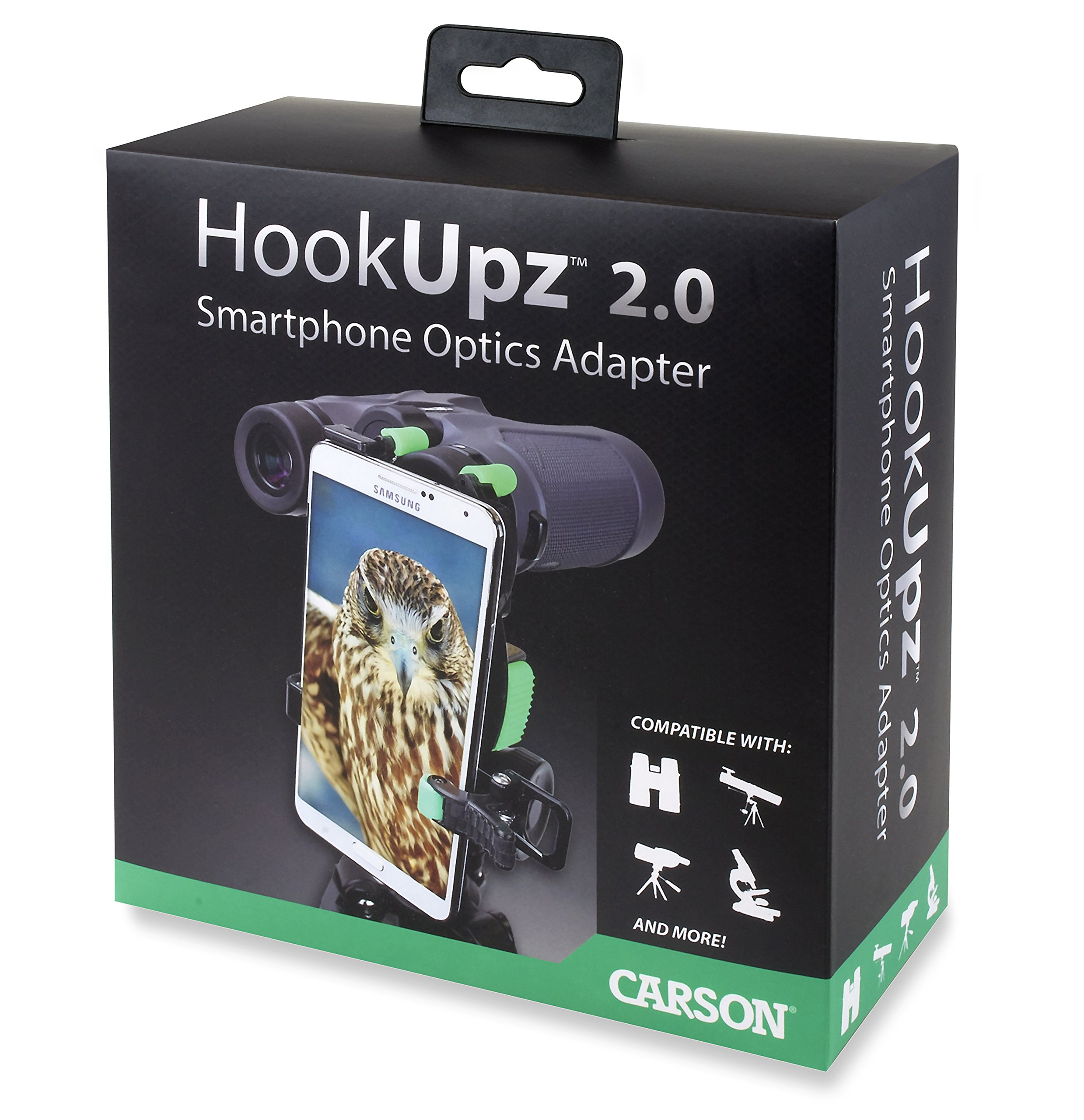Carson HookUpz 2.0 Universal Smartphone Optics Digiscoping Adapter for Binoculars, Spotting Scopes, Telescopes, Microscopes, Monoculars and More (IS-200) by Carson