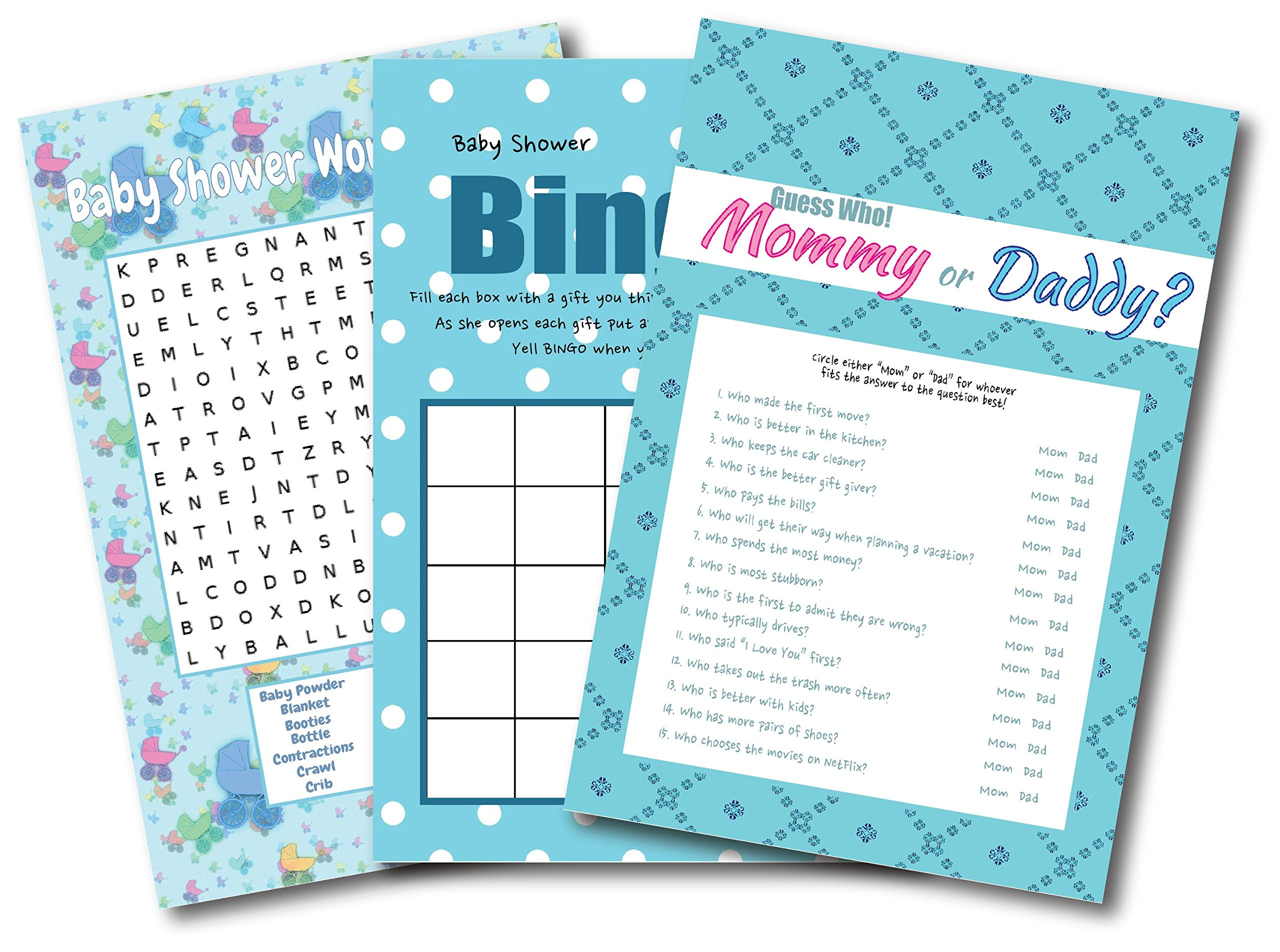 Baby Shower Games For Boys | By L&P Designs | Blue Baby Boy Party Ideas (Mommy or Daddy, Word Search and Bingo)