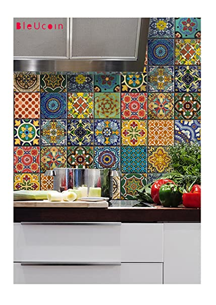 Bleucoin Mexican Talavera Tile Sticker For Kitchen And Bathroom Backsplash  , Removable Stair Riser Peel U0026