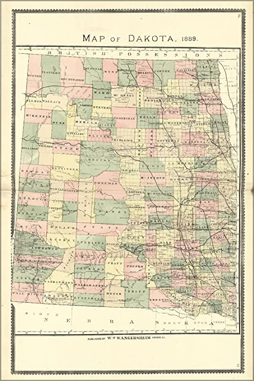 Amazon.com : 16x24 Poster; Map Of North & South Dakota, 1889 ...