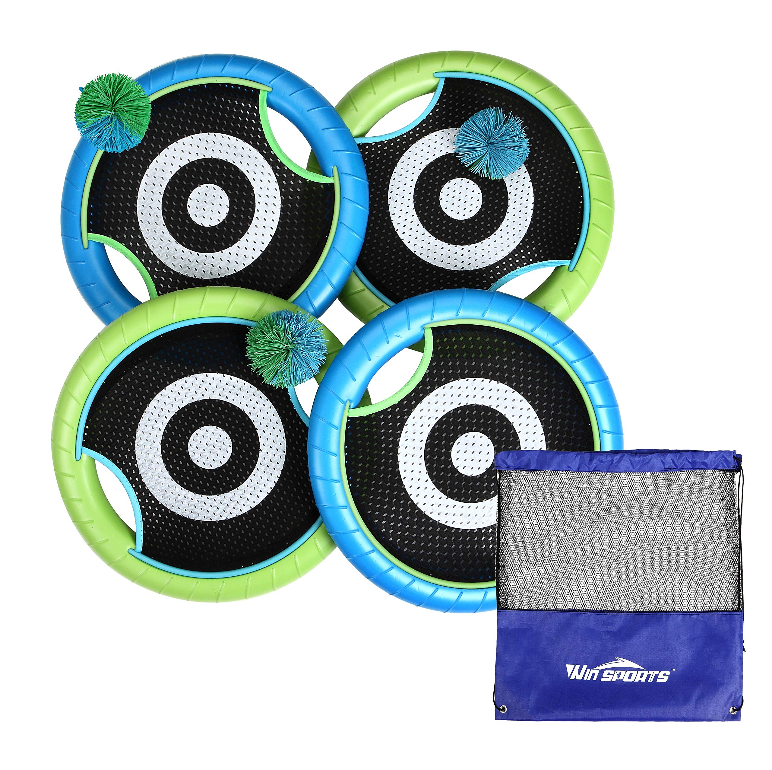 Win SPORTS Deluxe Trampoline Paddle Ball Flying Discs, Super Bounce-Back Family Game Set (4 Paddles & 3 Balls & Storage Bag) by Win SPORTS