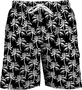 f35902bbd1e6 Newport Blue Mens Palm Print Swim Trunks Medium Black