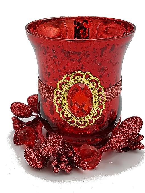 Emballage en boîte pot en verre portandela verre rouge pour noël pour décoration maison excellente idée