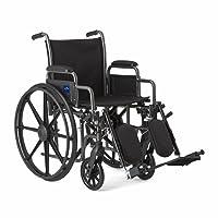 Medline Komfort Driven Rollstuhl mit abnehmbaren Armlehnen und erhöhende Beinstützen, 45,7cm Sitz