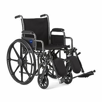 Medline - Silla de ruedas con brazos de escritorio extraíbles y reposapiés elevable, asiento de