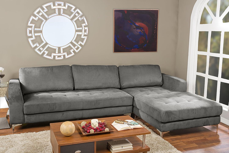 Enjoyable Baxton Studio Agnew Contemporary Light Beige Microfiber Right Facing Sectional Sofa Uwap Interior Chair Design Uwaporg