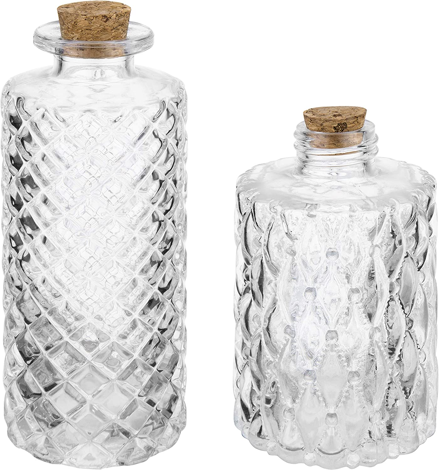 MyGift Vintage Embossed Clear Glass Bottles with Cork Lid, Set of 2