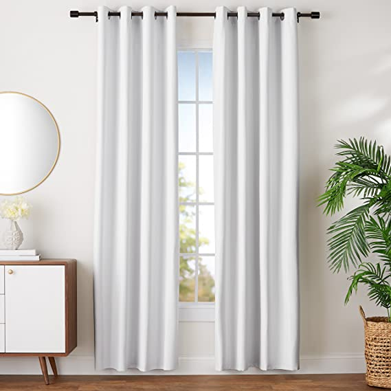 "AmazonBasics Room Darkening Blackout Window Curtains with Grommets Set, 52"" x 96"", White"