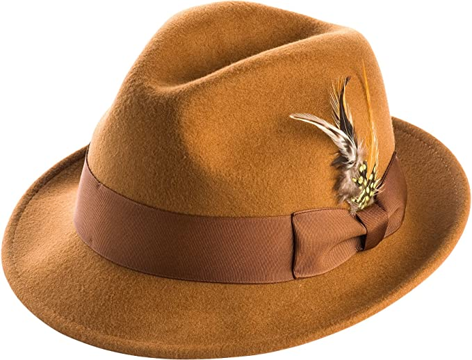 MONTIQUE Men s Snap Brim Crushable Felt Wool Fedora Hat H10 S Bronze abaf49f01bff
