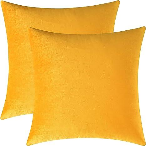 Mixhug Set of 2 Cozy Velvet Square 18 x 18 Inches,2 Pieces Burnt Orange