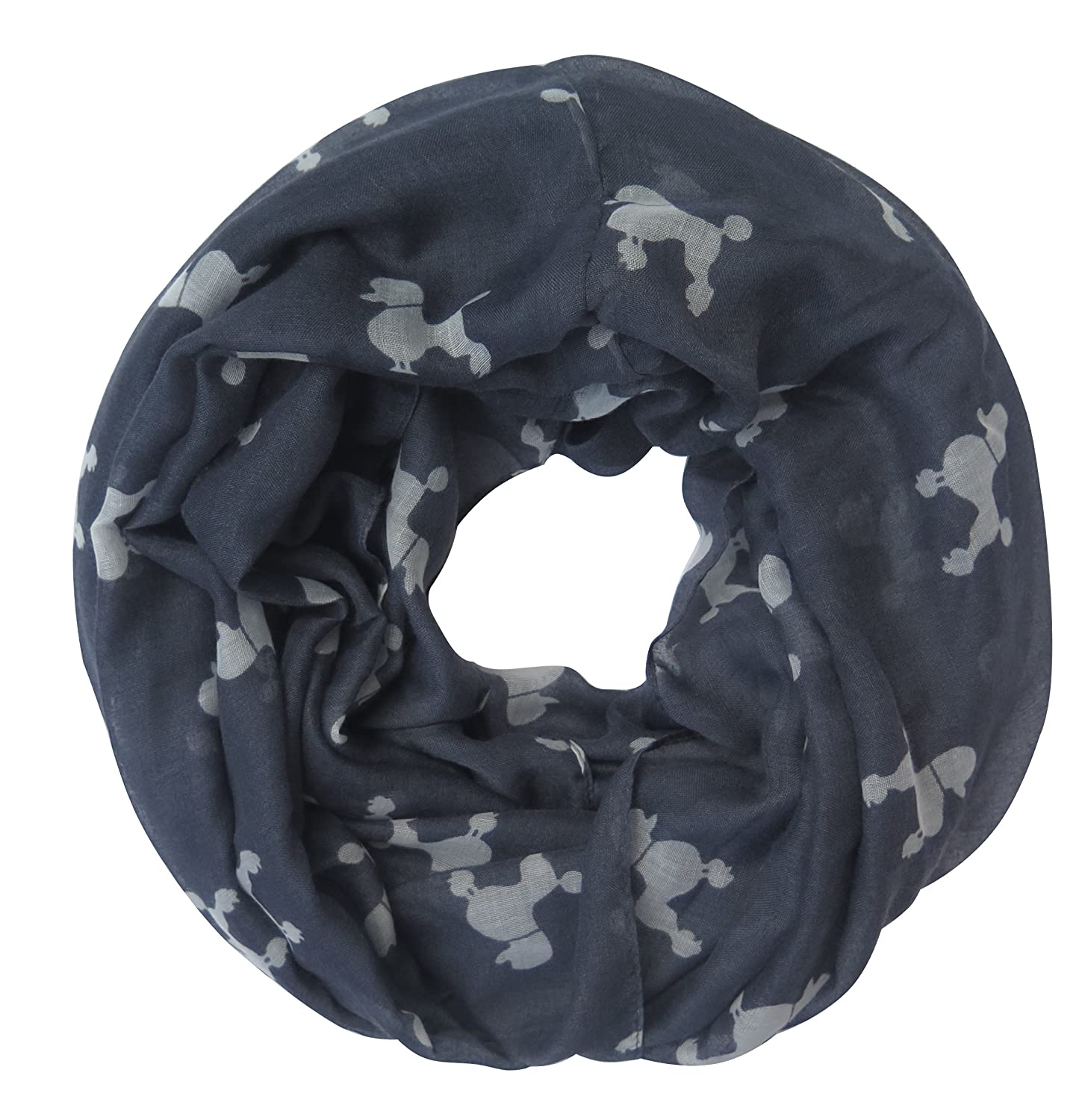 Lina & Lily Poodle Dog Print Women's Infinity Loop Scarf (Large Size, Black)