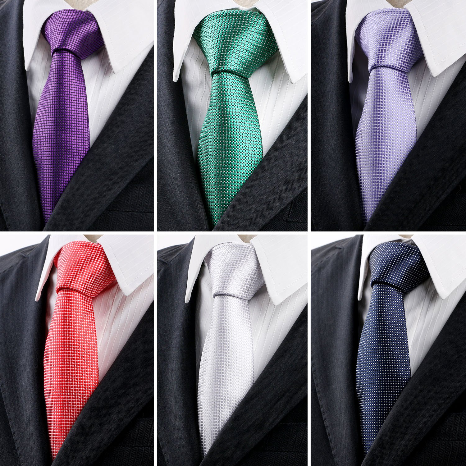 Scott Malone Silk Necktie 6 PCS Classic Men's Woven Jacquard Neck Ties Formal Wedding Business Meeting (Style 1)