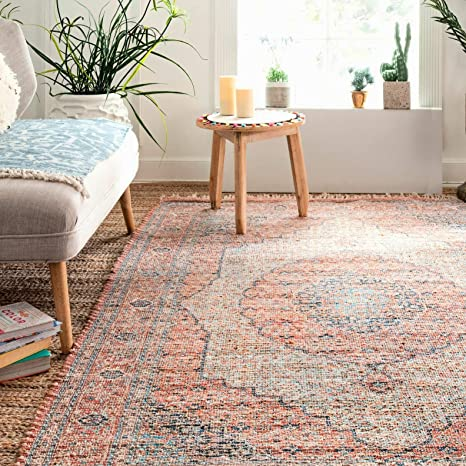 Glenni Oriental Flatweave Orange Blue Area Rug Country Of Origin India Location Indoor Use Only Kitchen Dining