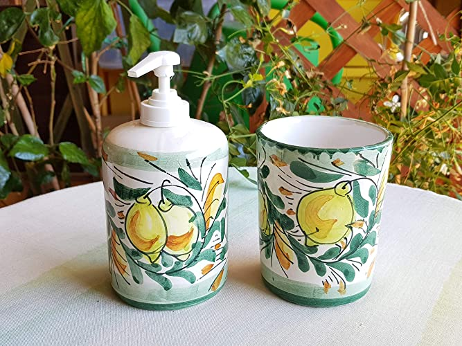 Accessori Bagno In Ceramica Decorata.Bicchiere Portaspazzolini E Dispenser Portasapone In