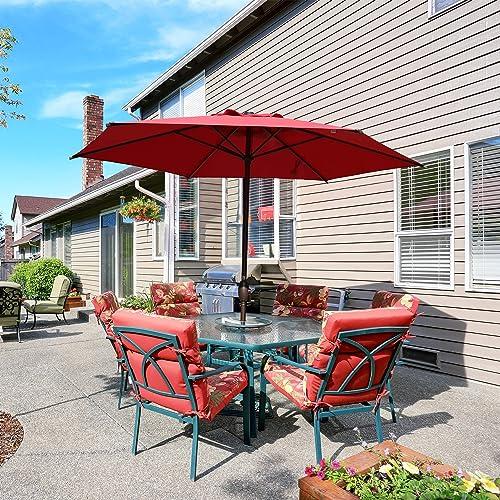 PRLADON 9ft Patio Umbrella Outdoor Umbrella Patio Market Table Umbrella with Push Button Tilt and Crank for Garden, Lawn, Deck, Backyard Pool, Red