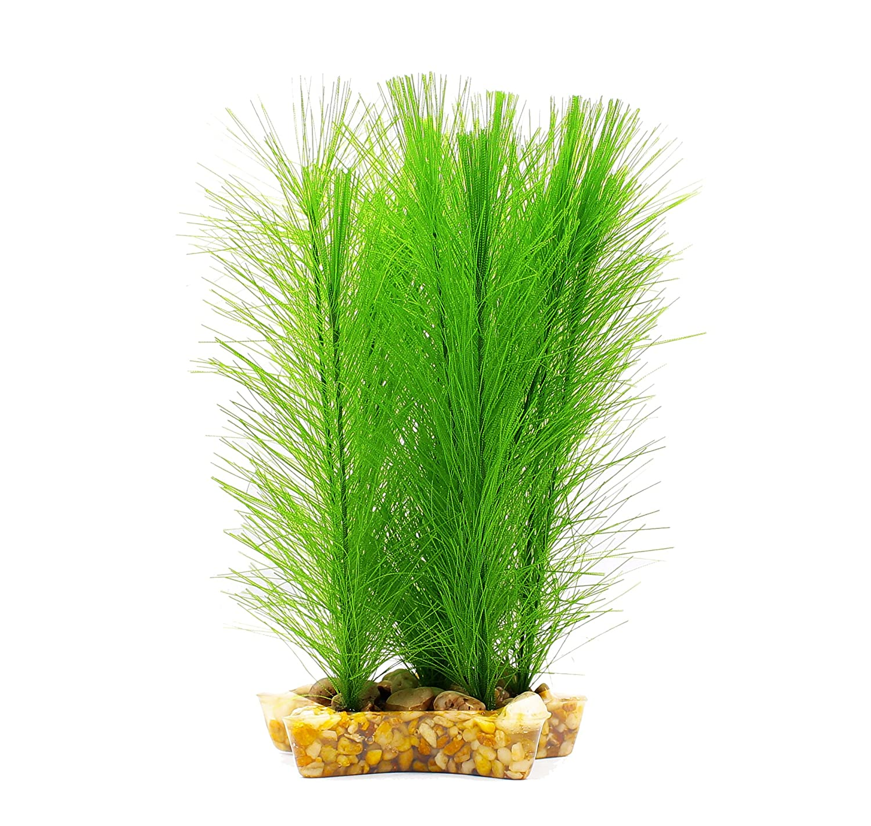 Green-7in ZAZALUM Artificial Aquarium Silk Plants Aquarium Decor Ornament Decoration Grass For Fish Tank